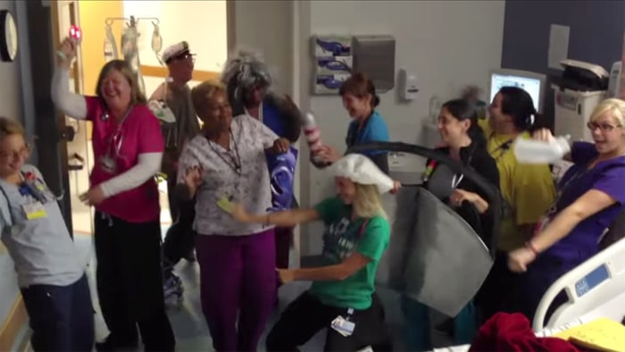 Image: Staff at The Children's Hospital of Philadelphia dancing in Tom Gillin's video
