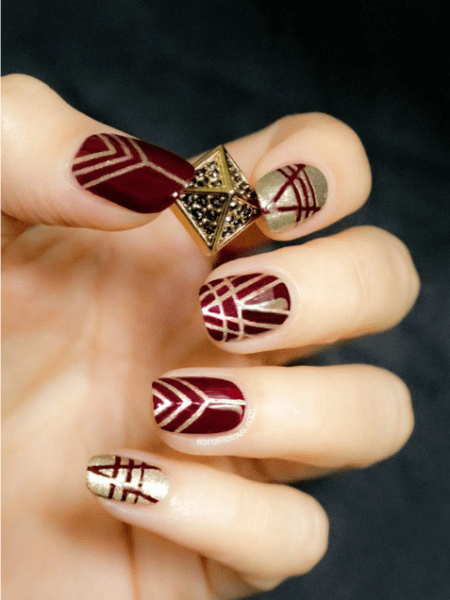 Wine and Burgundy nail polish with Shu Uemura gold glitter polish ...