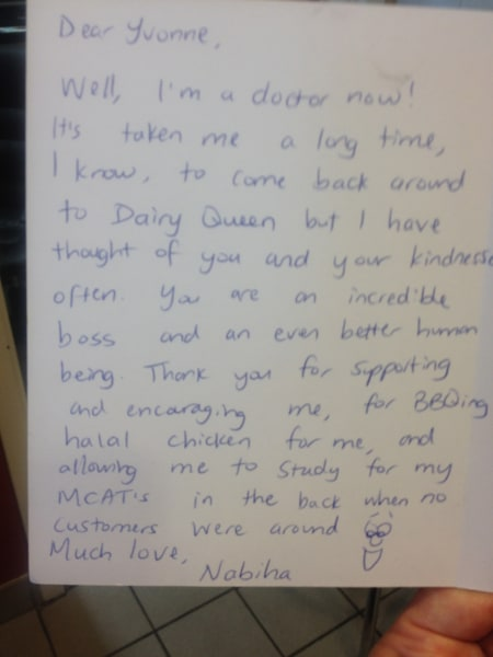 Dairy Queen Letter Thanks Doctor'S Onetime Boss For Kindness