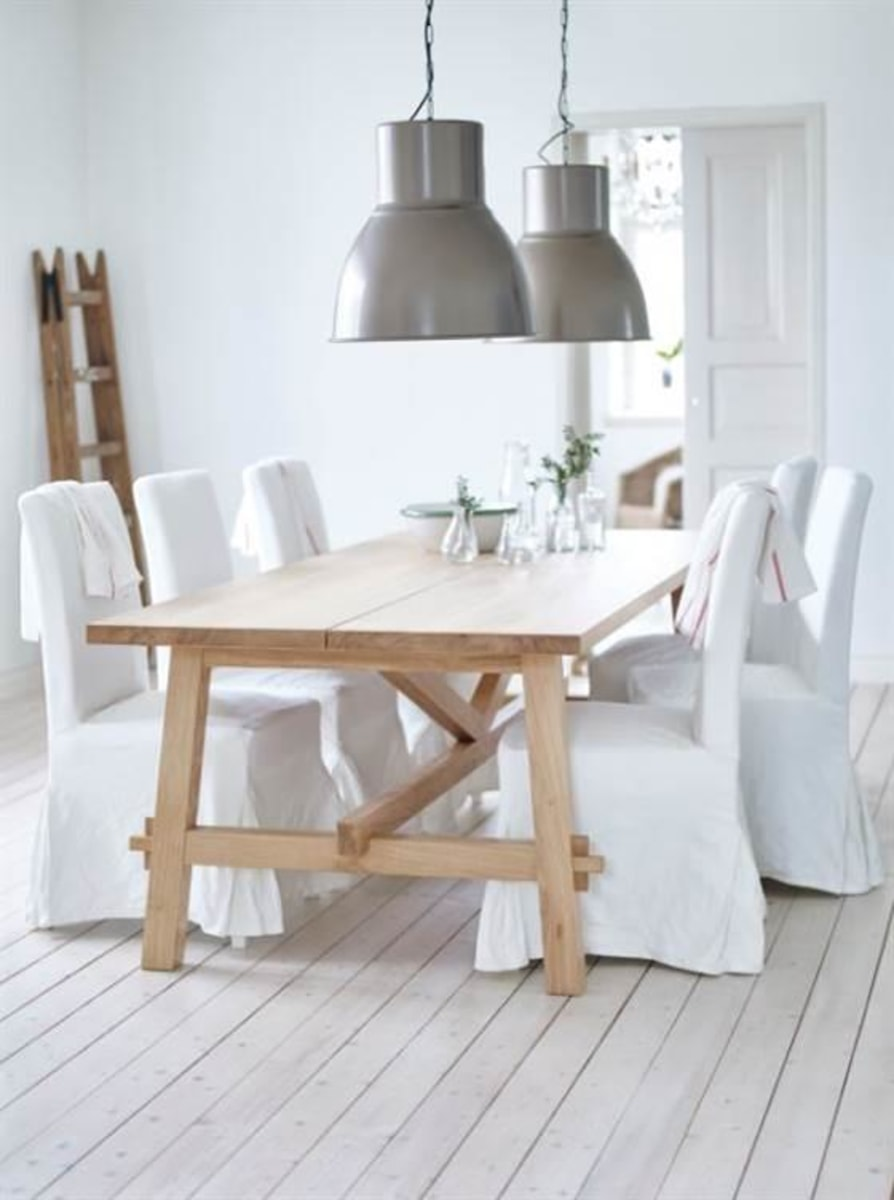 table the mix between clean lines and rustic wood make this dining