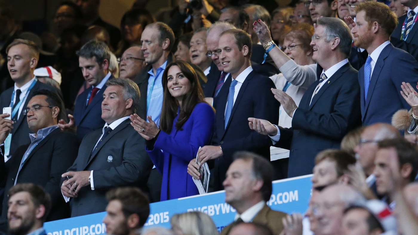 kate middleton prince william and harry at rugby world cup