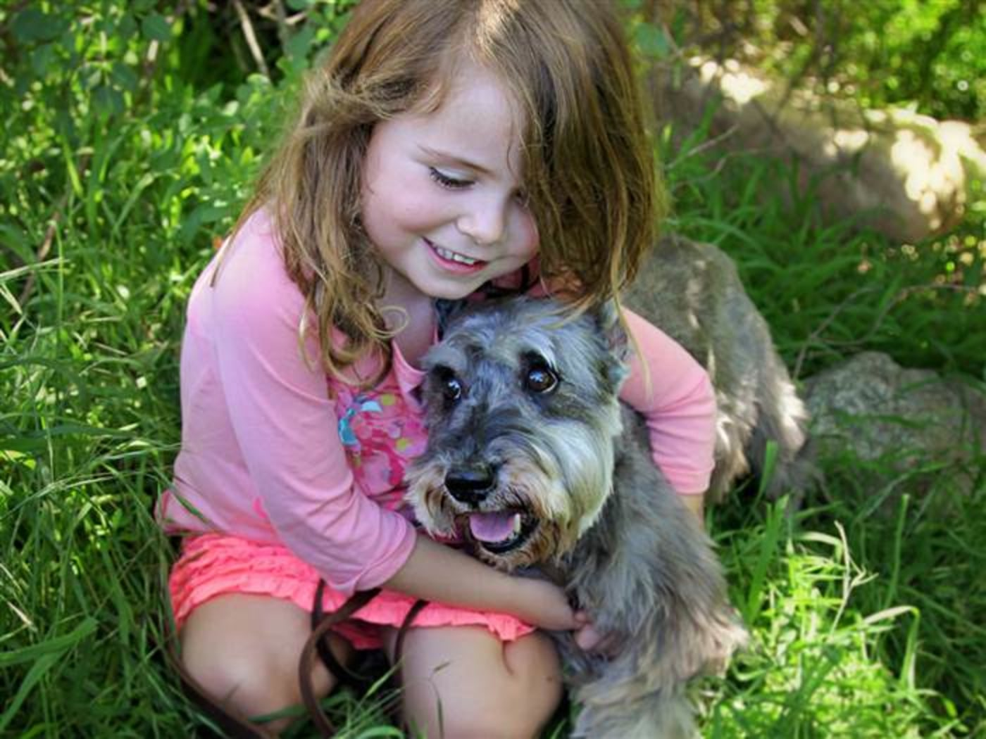 Little girl hugs a dog named Potter