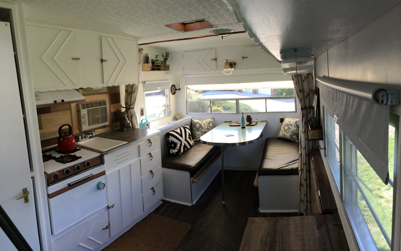 See the 120 square foot trailer this couple turned into a home for Rv square footage