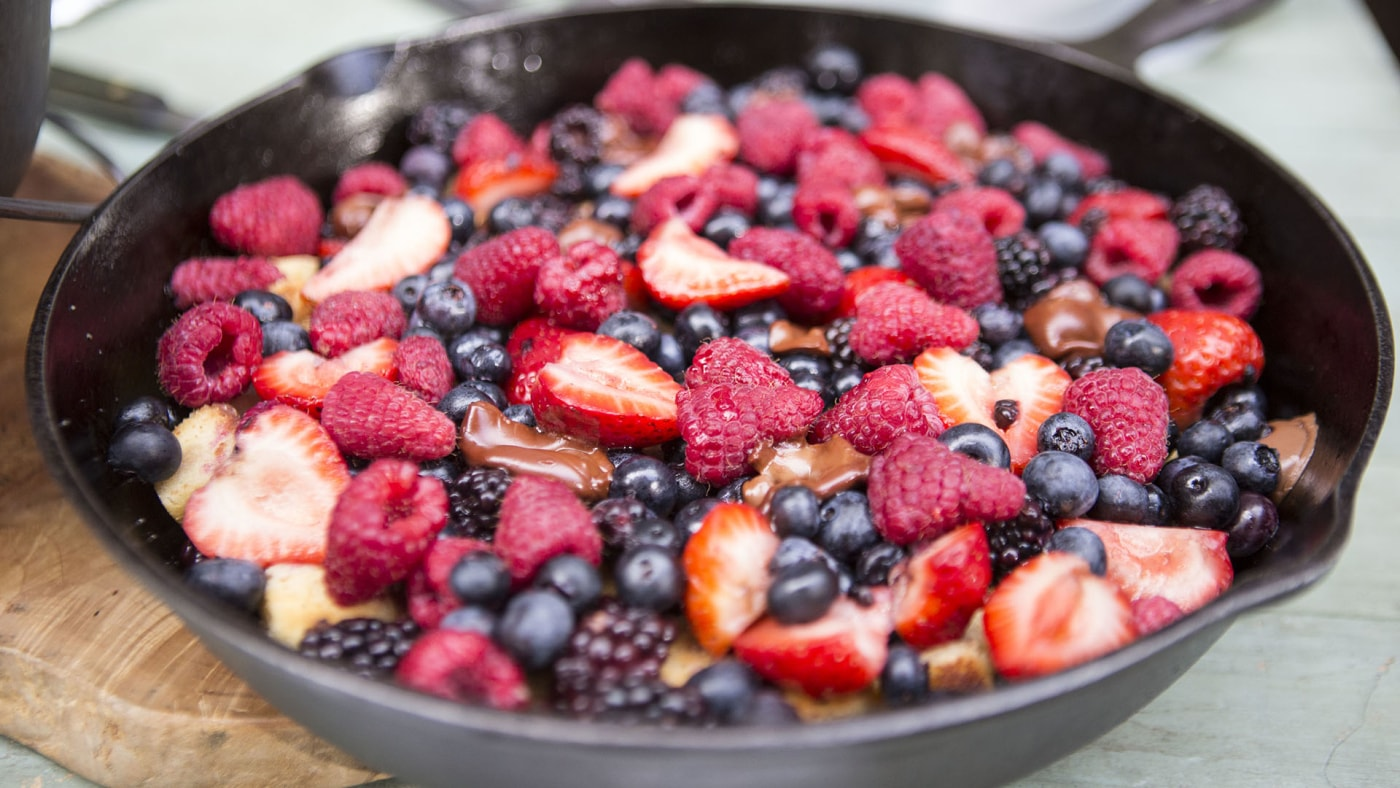 Picture of one of our favorite campfire desserts the pound cake berry skillet