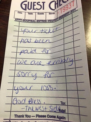 Waitress act of kindness
