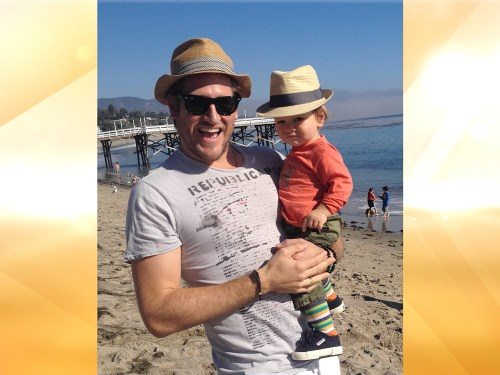 Chef Curtis Stone at the beach with his 1-year-old son, Hudson, who recently celebrated his birthday.