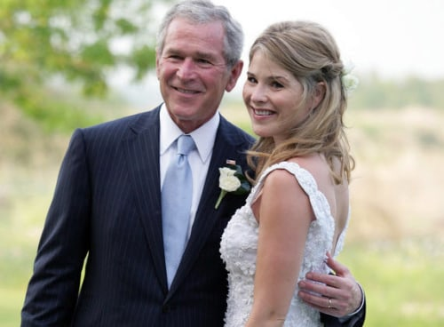 Image: Jenna Bush Hager stands with her father, President George W. Bush