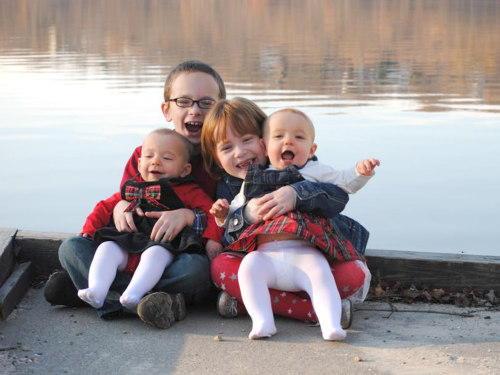 Nicholas, 7, Addison, 5, and twin girls Carrington and Madelyn, 1.