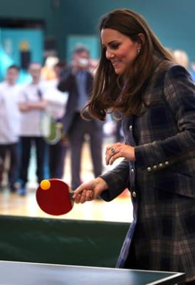 Image: Duchess Kate plays table tennis.
