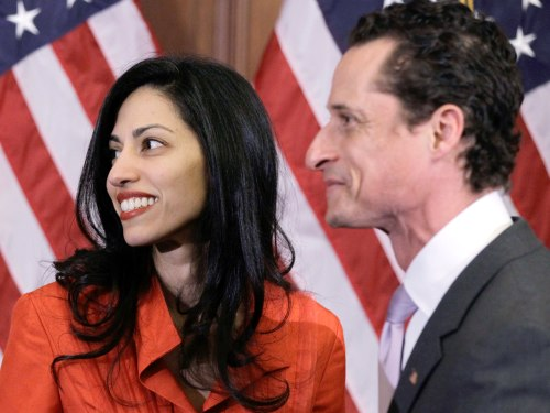 Rep. Anthony Weiner, D-N.Y., and his wife, Huma Abedin, aide to Secretary of State Hillary Rodham Clinton, are pictured after a ceremonial swearing in...