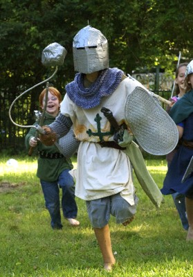 Seth Harding dressed as a knight.