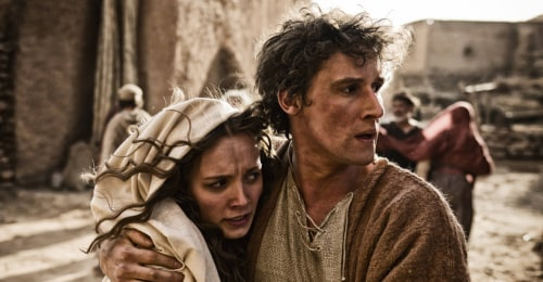 "Joseph protects Mary in History's ""The Bible."""
