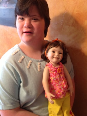 Hannah Feda with doll