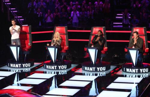 """""""The Voice"""" judges, from left, Adam Levine, Shakira, Usher, and Blake Shelton."""