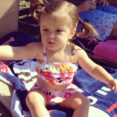 Bella Staffen's mom loves to dress her baby bikinis.