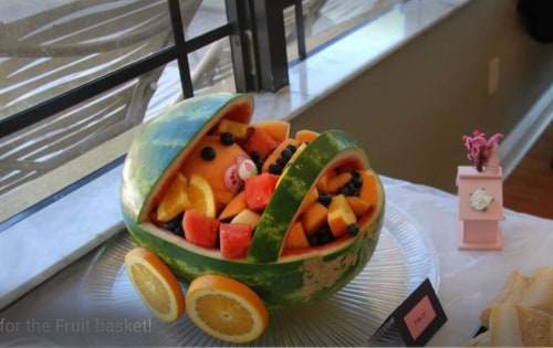 Jones created this fruit basket as a gift for his friends who had just welcomed a new baby.