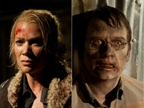 """Laurie Holden (as Andrea) and Dallas Roberts (as Milton) on """"The Walking Dead."""""""
