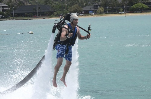 Customer Victor Verlage rides a Jetlev jetpack operated by the company H2O Water Sports Powered by Seabreeze in Honolulu last month.