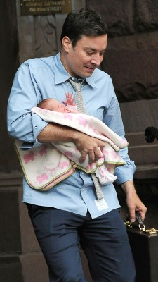 Image: Jimmy Fallon and baby Winnie.