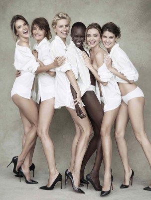 We get it: you're leggy. The models pose for a full-length shot.