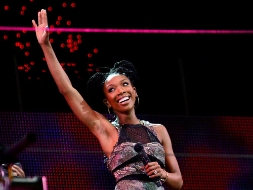 Brandy performing during the Nelson Mandela Sports & Cultural day music concert.