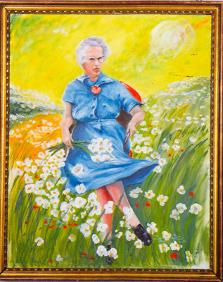 "LUCY IN THE FIELD WITH FLOWERS Unknown 30""x24"", oil on canvas Rescued from trash in Boston, MA by Scott Wilson (MOBA Esteemed Curator Emeritus), 1993 ..."