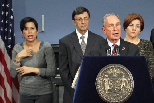 New York Mayor Michael Bloomberg (3rd L) speaks to the media during a news conference about Updates to New Yorkers on Preparations for Hurricane Sandy...