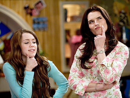 "Miley Cyrus and Brooke Shields on ""Hannah Montana"" in a 2007 episode."