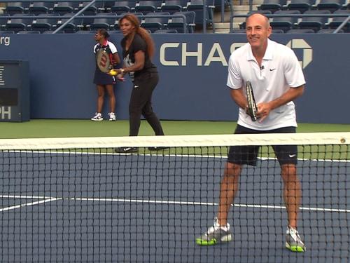 Serena prepares for a powerhouse serve.