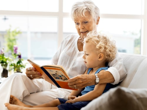granmother, grandson, child, read, elderly, senior, babysit