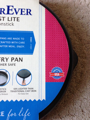 "The label on the Chinese-made WearEver Cast Lite skillet, sold at Wal-Mart, was confusing, with a small symbol with ""USA"" printed on the front. It is engineered in the United States but made in China."