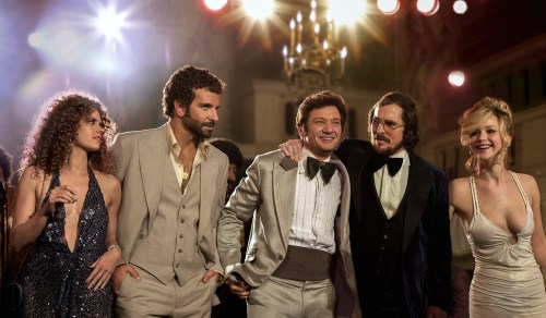 This film image released by Sony Pictures shows, from left,  Amy Adams, Bradley Cooper, Jeremy Renner, Christian Bale and Jennifer Lawrence in a scene...
