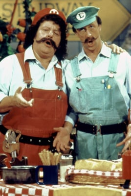 "Danny Wells, right, with Capt. Lou Albano on ""Super Mario Bros. Super Show."""