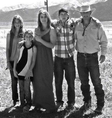 Gracie Johnson, far left, and her family. Her mom, dad and sister,  Kiowa-Rain, died in a rockslide in September.