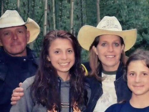 Since losing her family (pictured) in the rockslide she survived, Gracie Johnson is living with an aunt and uncle in her small hometown.