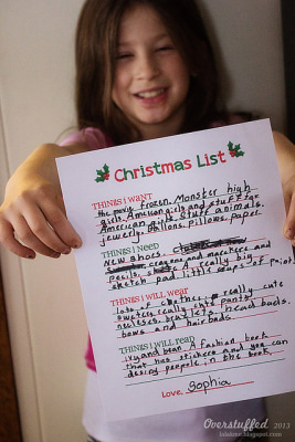Sophia, 7, and her revised holiday wish list.