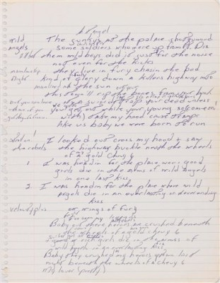 """A page from the handwritten manuscript of Bruce Springsteen's 1975 hit, """"Born to Run."""" It was expected to sell for as much as $100,000 and nearly doubled that at auction."""