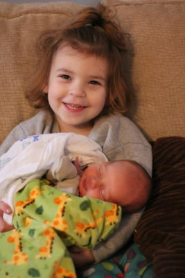 Evangeline and her baby brother, Nathaniel