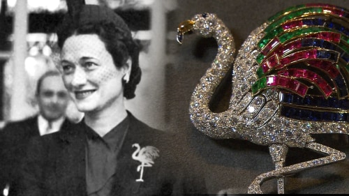 The flamingo brooch given to Wallis Simpson, the Duchess of Windsor