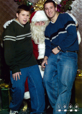 The photos turned into a yearly family tradition, even when the boys outgrew Santa's lap. And at a certain point, they just had to keep the streak going...