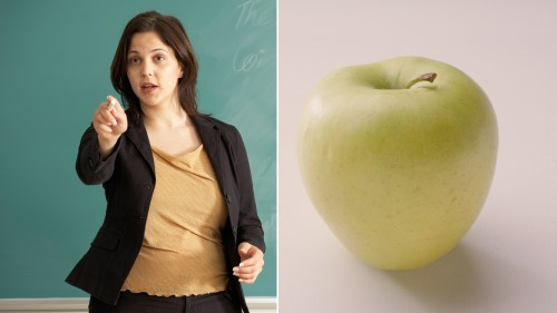 teacher and apple