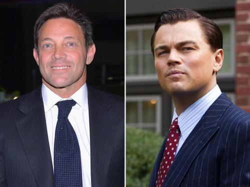 """Jordan Belfort and Leonardo DiCaprio as Belfort in """"The Wolf of Wall Street."""""""