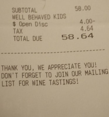 The restaurant receipt notes a discount for the King kids' good behavior.