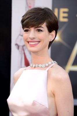 Winning look: Actress Anne Hathaway arrives at the Oscars red carpet on Feb. 24.