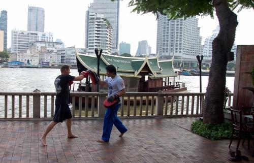 Muay Thai lesson at the Peninsula Bangkok