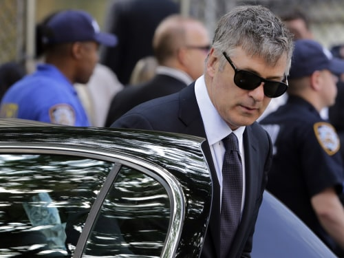 "Actor Alec Baldwin arrives for the funeral service of James Gandolfini, star of ""The Sopranos."