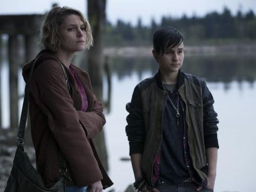 "Image: Danette Leeds (Amy Seimetz) and Bullet (Bex Taylor-Klaus) on ""The Killing."""