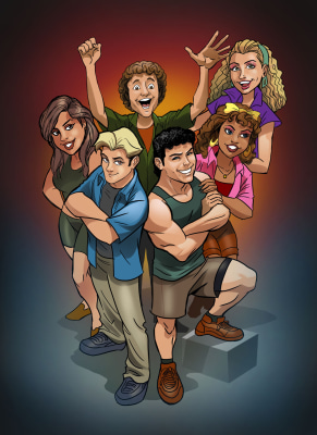 "Image: ""Saved by the Bell"" gang in digital comic form."