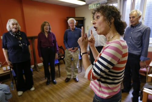 A singing class at Royal Brompton Hospital.