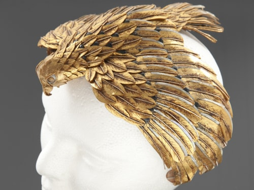 "A falcon headdress worn by Elizabeth Taylor in the 1963 film ""Cleopatra"" is pictured in this undated handout photograph released to Reuters by Julien'..."